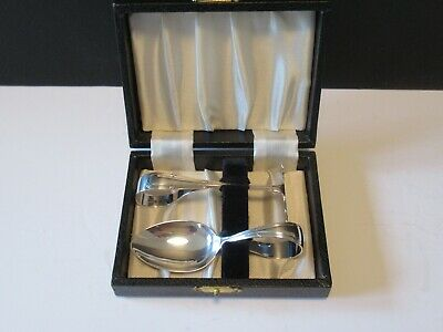 Boxed Hallmarked Silver Baby Cutlery Spoon & Food Pusher  Birmingham 1947
