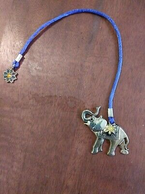 Elephant Book Mark With Blue Ribbonn