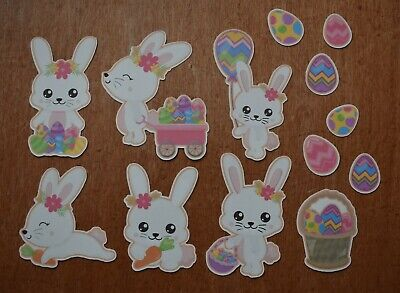 10-15 Bunny Rabbit Dots Die Cuts Embellishments Pre-Made Easter Shabby Chic