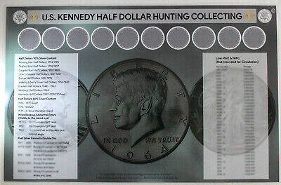 """U.S. Kennedy Half Dollar Coin Roll Hunting and Sorting Mat (11"""" x 17"""")"""
