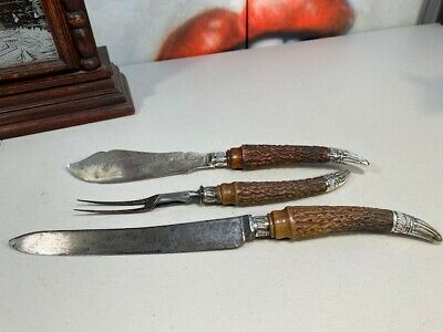 Antique c1800s Victorian English Sheffield Steel Carving Set Silver Finales
