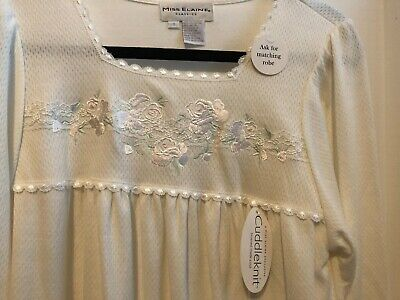 NWT Miss Elaine Nightgown Cuddleknit White & Pastels Size SM