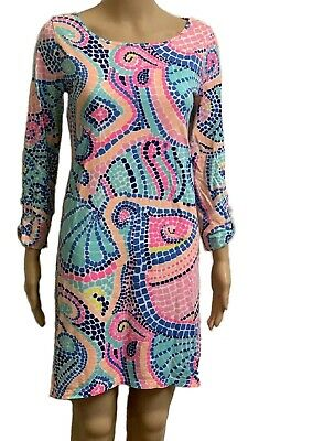 Lilly Pulitzer Edna Dress Multicolor Shell Print Size S Boatneck Waterfall Hem