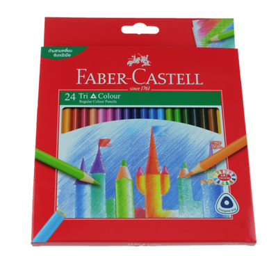 Faber Castell 24 Tri Colour Pencils Crayon Couleur School Ecole Art Artiste Dess
