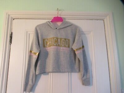 10-11 yrs: Stylish grey CHICAGO cropped hoodie: Good condition: Combine postage