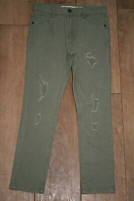 NEW! Boys skinny stretch jeans AGE 9-10 distressed trousers adjustable waist