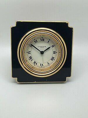 Cartier travel alarm clock, Black Lacquer Gold Plated, Manual Winding