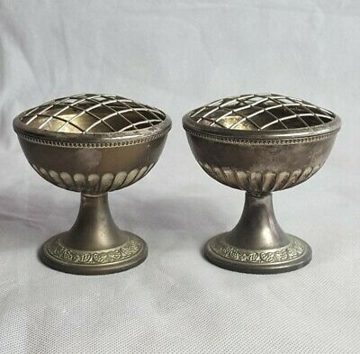 2 Vintage Small Silver Plated Rose Bowls