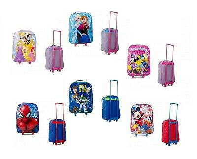 Childrens Trolley Suitcase Cabin Bag Luggage Disney Toy Story Frozen Spiderman
