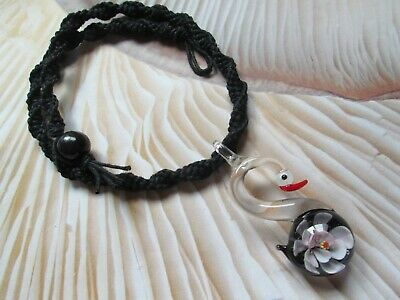 18 INCH Handmade Black Hemp Necklace with Pink Glass Swan Pendant
