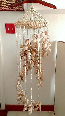 Vintage Rare Shell Art Spiral Wind Chime Hanging Tropical Beach Decore! 42 inch!