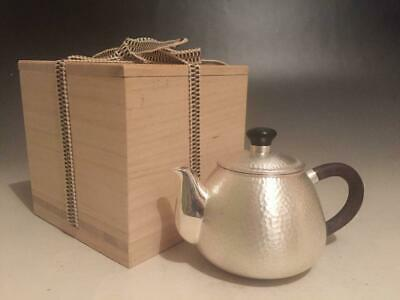 Japanese Antique Silver Teapot Ginbin Hammered Pattern Vintage Tea Item with Box