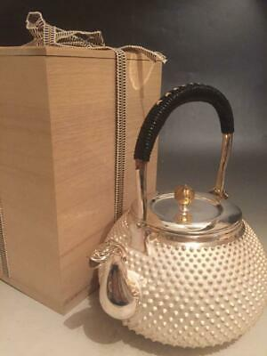 Japanese Antique Silver Teapot Kettle Ginbin Luxury Vintage Tea Item with Box