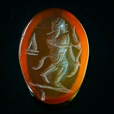 Ancient Carnelian Intaglio Athena Greek god Of Wisdom & Skill  Signet Seal  Bead