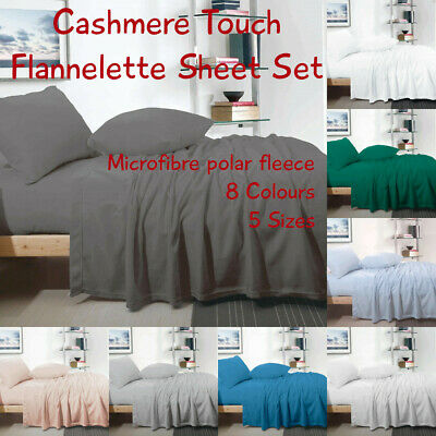 Cashmere Touch Flannelette Sheet Set, Luxury Microfibre, 8 Colours, Free Postage