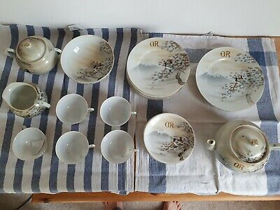 "Japanese Eggshell Porcelain Tea Set Hand Painted Initalled with ""GR"""