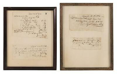 Antique Framed Early 1800's 4 Nautical Shipping Related Paid Receipts Goods