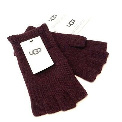 UGG Womens Knit Wool Fingerless Gloves Burgundy Red One Size