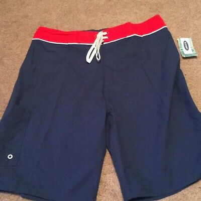 """Mens OLD NAVY Swim 10/"""" UPF 40 Trunk Board Shorts BLUE RED Size 34 36 38 40 42"""