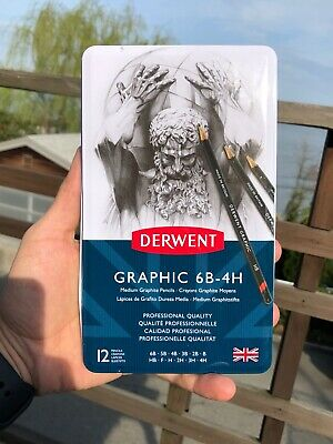 Derwent Graphic Pencils Medium 6B - 4H - 12 Count - Brand New