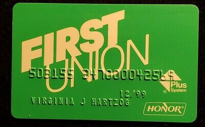 First Union HONOR Visa credit card exp 1999♡Free Shipping♡cc1239