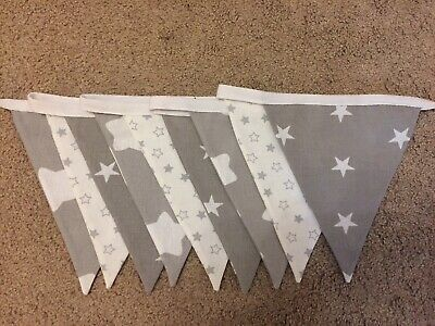 Handmade Grey And White Bunting - Bedroom, Nursery, Baby Shower Boy / Girl