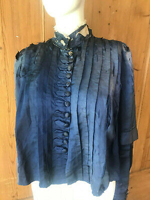 Antique Victorian Blue Silk Bodice Top Lace Ruffles Vintage Damaged