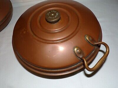 Lovely old  Copper Hot Water Bottle Bed Warmer 10 inch  Diameter / 3 inch high