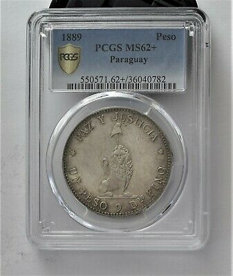 1889 Paraguay Silver Peso UNC PCGS 62 certified