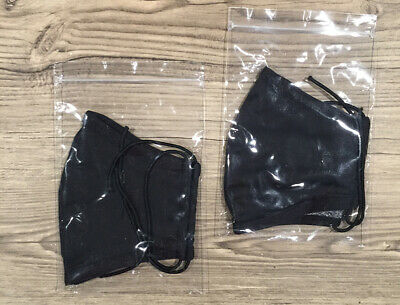 2 Pack Black Handmade Two Layers Washable/Reusable/Breathable Fabric Cloth Mask