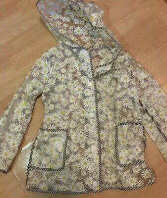 F&F Daisy Clear PVC Mac Raincoat Jacket Floral Transparent Age 7 Years Spring