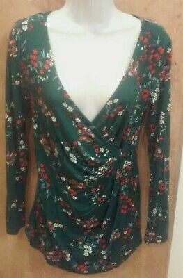NWT LEMON TART Women's Dark Green Floral Faux-wrap Blouse Shirt Top Small S