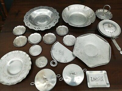 Vintage Hammered Aluminum Serving bowls Dish silent Butler coaster 18 piece lot1