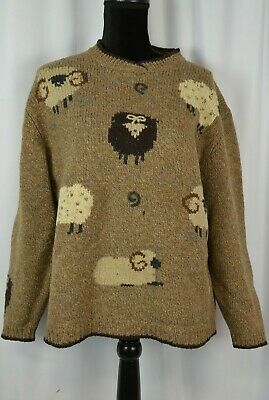 Woolrich Women's Pullover Sweater Size Large Wool Knit Sheep Rams Casual Fun
