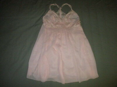 Victoria's Secret Womens Small Pink Lingerie Chemise Slip Babydoll Lace 2 Layers