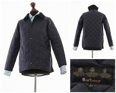 Youth Boys Barbour Children's Liddesdale Quilted Quilt Jacket Navy Blue Size L