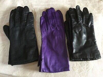 3 pair Women's Fownes Black Genuine Leather Driving Gloves Size 7 purple 7.5