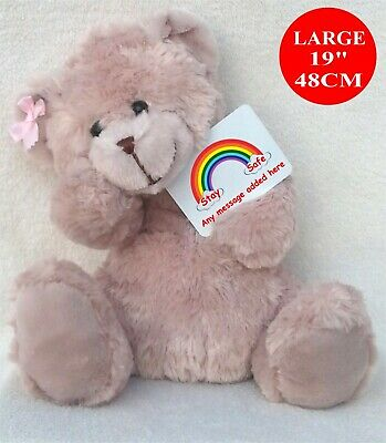 """Personalised Teddy Bear BEIGE 48CM /19"""" LOCKDOWN 10% DONATION GIVEN  TO NHS"""