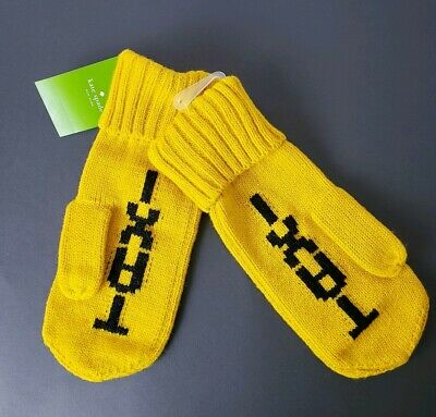 Kate Spade Taxi Yellow Print Black Knit Mittens Dandelion (705)size O/S NWT