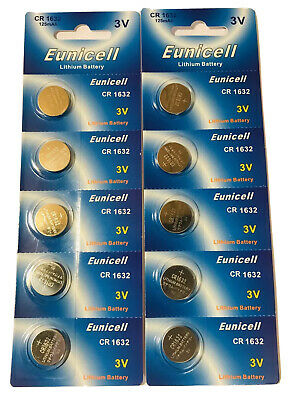 10 X CR1632 Genuine EUNICELL 3V Lithium COIN CELL BUTTON BATTERIES DL1632 LM1632