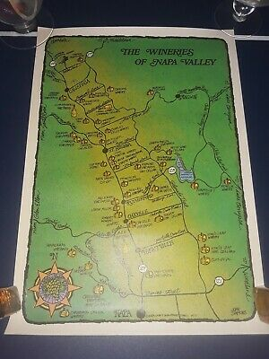 Vtg Map - Wineries Of NAPA VALLEY Poster By Napa County Development Council 1977