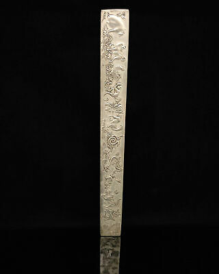 Old chinese Hand-Carved Tibetan Silver Chinese Zodiac pattern Ruler statue