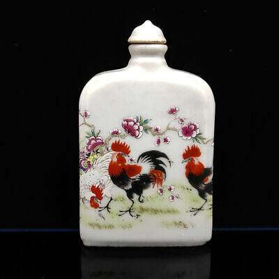 Chinese Exquisite Handmade Cock pattern pattern porcelain snuff bottle s-146