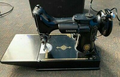 Vintage Singer Featherweight 221 Sewing Machine + Case, Pedal and Bobbins