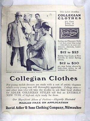 Collegian Clothes 1905 Poster Advert Rare Full Size Large