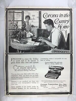 1916 Corona Typewriter Ad Poster Rare 1900s Corona In The Country Home Unique