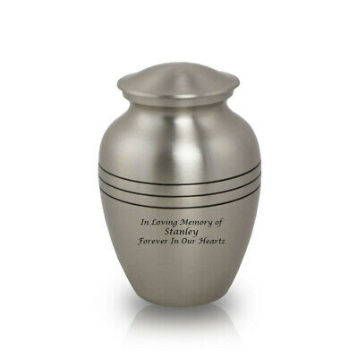 Classic Bronze Cremation Urn for Ashes - Medium Pewter Silver