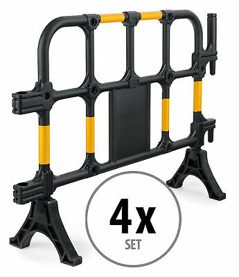 4x Street Barrier Road Traffic Pedestrian Work Crowdcontrol Fence Yellow/Black