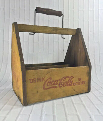 Vintage Drink Coca-Cola Yellow Wood 6-pack Carrier WWII 1940's War Wings