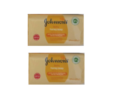 Johnsons Baby Honey Soap x2 Bars 100g Gentle Care No Alcohol Parabans Sulphates